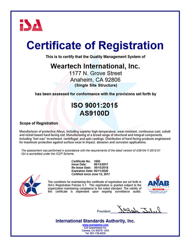 AS9100D Certification